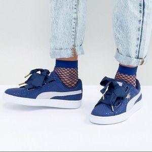 Puma Basket Heart Denim Sneaker Size 8